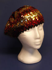 Sequin Covered Tam Hat Beret New One Size Stretchy Colorful