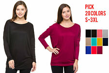 Solid Dolman Round Rayon Neckline Top Long Sleeves Tunic Soft Comfy S - 3XL 5473