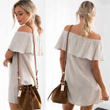 Women Sexy Shoulder Off Ruffles Summer Evening Party Cocktail Loose Mini Dress
