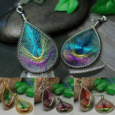 Boho Lady Peacock Tail Wire Thread Earring Dangle Hook Ear Stud Earrings VVV