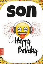 Emoji | Smiley Face | Headphones | Son Happy Birthday Card and White Envelope