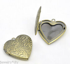 Wholesale JD Bronze Tone Photo Frame Setting Heart Locket Pendants