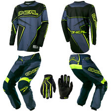 O'Neal Element Gray Neon Youth Motocross Dirtbike Gear Jersey Pants Gloves Combo