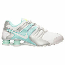 Women's Nike Shox Current Running Shoes White Cool Grey Teal 639657 109