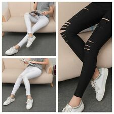 Hot Women Skinny Leggings Stretchy Sexy Slim Hole Ripped Leggings Tight Pants