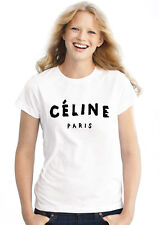 Celine Paris Women Fitted sexy celebrity fashion girl White-Black- Top T Shirt