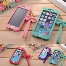 For iPhone 4 5S 6/6S 6Plus Cute Princess Bow PU Leather Pouch Sleeve Case Strap