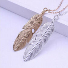 Long Necklace Statement Sweater Chain Pendant Vintage Feather Jewelry Women
