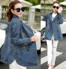 Women's Cotton Denim Double-breasted Jacket Lapel Trench Coat Jeans Parka Slim