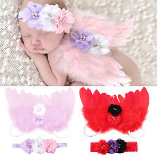 Newborn Kids Baby Feather Angel Wings Flower Hair Band Photography Prop Welcome