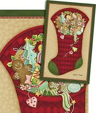 Santa's Treats Stocking Patchwork Fabric Panel CHRISTMAS IN JULY