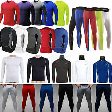 Men Compression Under Base Layer Body Armour Thermal T-shirt Stretch Tight Pants