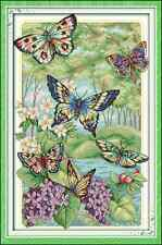 Kit broderie point de croix imprimé/compté,11CT/14CT,Cross Stitch Papillons