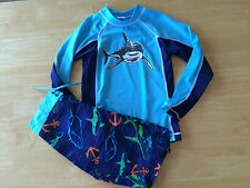 NWT Gymboree Boys Blue Shark Swimsuit Rash Guard Swim trunk Set  SZ 6 Swim Shop