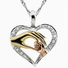 Mother's Day Hold Kids Children Hand Love Heart Pendant Charm Chain Necklace EV