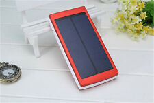 Red 600000mAh Portable Solar Power Bank Dual USB LED Backup Charger Battery