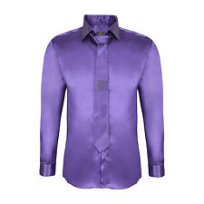 Robelli Men's Diamante Collar Cuff Satin Shirt & Matching Tie - Light Purple