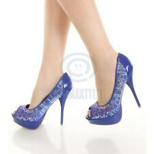 Ladies Shoes Blue Satin Studded  Open Toe Pump Stilleto Formal Party High Heels