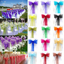 1/10/25/50/100 Organza Sashes Chair Cover Bow Sash Western Wedding Party Banquet