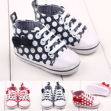 Toddler Girls Leather First Shoes Polka Dot SneakersLaces Soft Sole 0-12 Months
