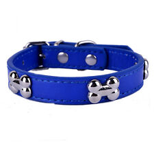 Bone Shaped Studded Collar Pu Leather Dog Collar Adjustable Small Pet Necklace
