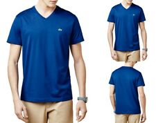 Lacoste Mens Short Sleeve Pima Cotton Jersey V-neck T-shirt Tee Blue Inkwell
