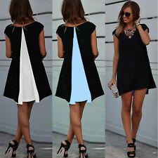 Women Ladies Casual Chiffon Short Sleeve Evening Party Cocktail Loose Mini Dres