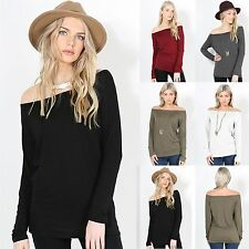 Womens Baggy Oversized T Shirt Ladies Off Shoulder Bardot Top Plus Size UK 8-22