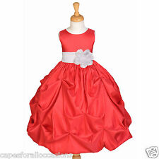 RED JUNIOR TAFFETA WEDDING BRIDESMAID FLOWER GIRL DRESS 6M 9M 2/3T 4/5 5T 6 8 10