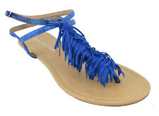 City Classified Shoes Women Flat Fringe Sandals Blue Ankle Strap Thongs ORION-S