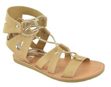 Soda Women Gladiator Flat Summer Caged Studded Strap Sandals Lace Up Beige TROUT