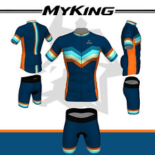 Blue Men Bike Cycling Bicycle Short Sleeve Cloth Sports Wear Jersey Shorts Set