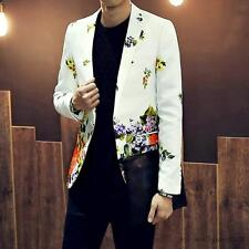 Fashion Mens Slim Fit Floral One Button Jacket Lapel Suit Casual Coat Blazer