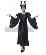Adult Womens Maleficent black witch Cosplay Costume Outfit Halloween Fancy Dress