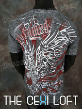 NEW MENS GRAPHIC T-SHIRT Untamed Grey with Fire Eagle Designs SLIM FIT