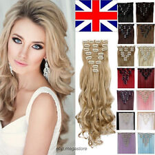 Premium Quality Clip In Full Head Hair Extension Long Curly Straight Brown Black