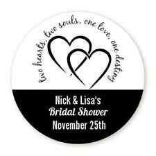 Two Hearts - Round Personalized Bridal Shower/Wedding Sticker Labels -6 sizes