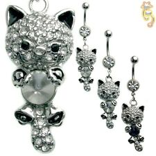 Kitty Cat Belly Ring Naval Dangle Blue Clear Body Jewelry CZ Animal Cute Sexy