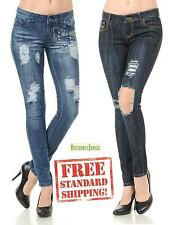 Juniors WOMENS Stretch BLUE Denim JEANS Destroy Skinny Ripped Distressed Pants