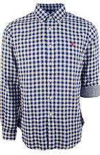 NWT $125 Polo Ralph Lauren Double Faced BLUE WHITE Gingham Check Plaid LS Shirt