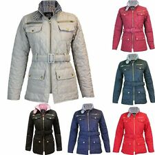 New Ladies Quilted Womens Belted Padded Gold Zip Jacket Coat Top