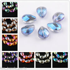 5pcs 18X13mm Faceted Flat Glass Crystal Teardrop Jewelry Findings Loose Beads