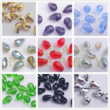 10pcs 18x12mm Teardrop Faceted Crystal Glass Jewelry Making Loose Spacer Beads