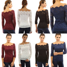 New Vogue Women Elegant Slim Strapless Lace Floral Shirt Long Sleeve Tops-Blouse