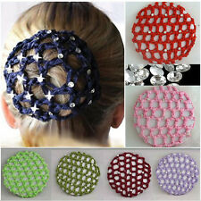 Women Bun Cover Snood Hair Net Ballet Dance Skating Crochet Rhinestone 2016
