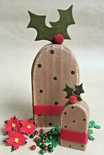 "East of India Wooden Christmas ""Figgy"" Pudding Shaped Decoration Present Gift"