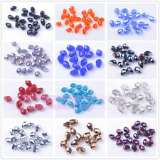 Bulk Wholesale 40pcs 7X5mm Teardrop Faceted Loose Spacer Crystal Glass Beads