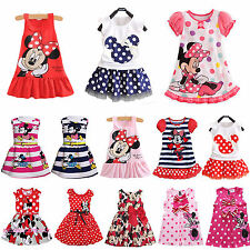 Toddler Kids Girls Minnie Mouse Polka Dot Vest Skirt Dress Casual Tops Sundress