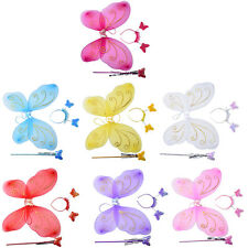3Pc Set Girls Fairy Costume Butterfly Wings Wand Princess Headband Beauty EV