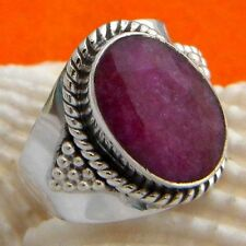 925 Sterling Silver Handmade Ruby Ring, Ruby Silver Ring, Jaipur Ruby Ring